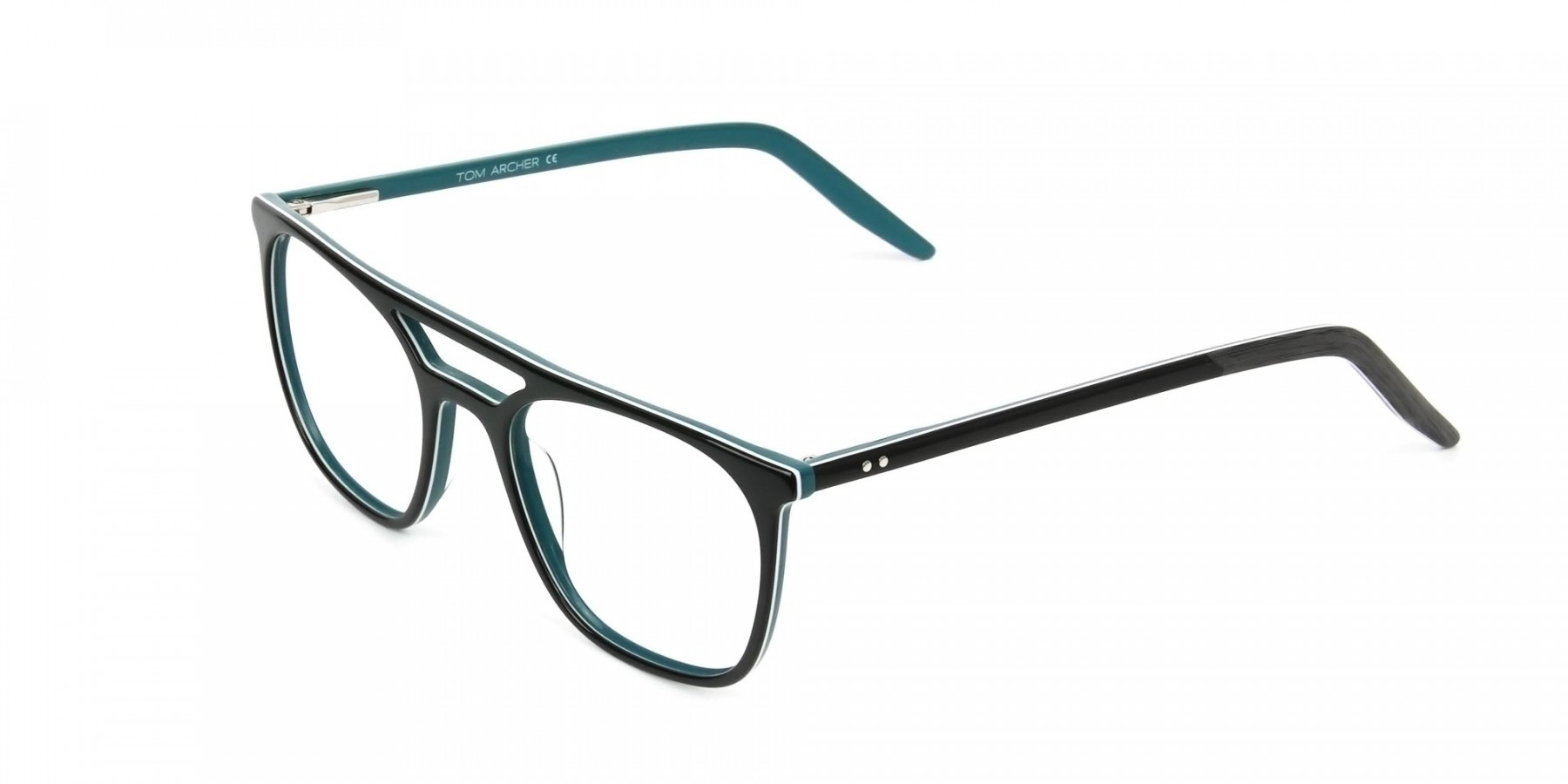 Black & Teal Aviator Spectacles - 1
