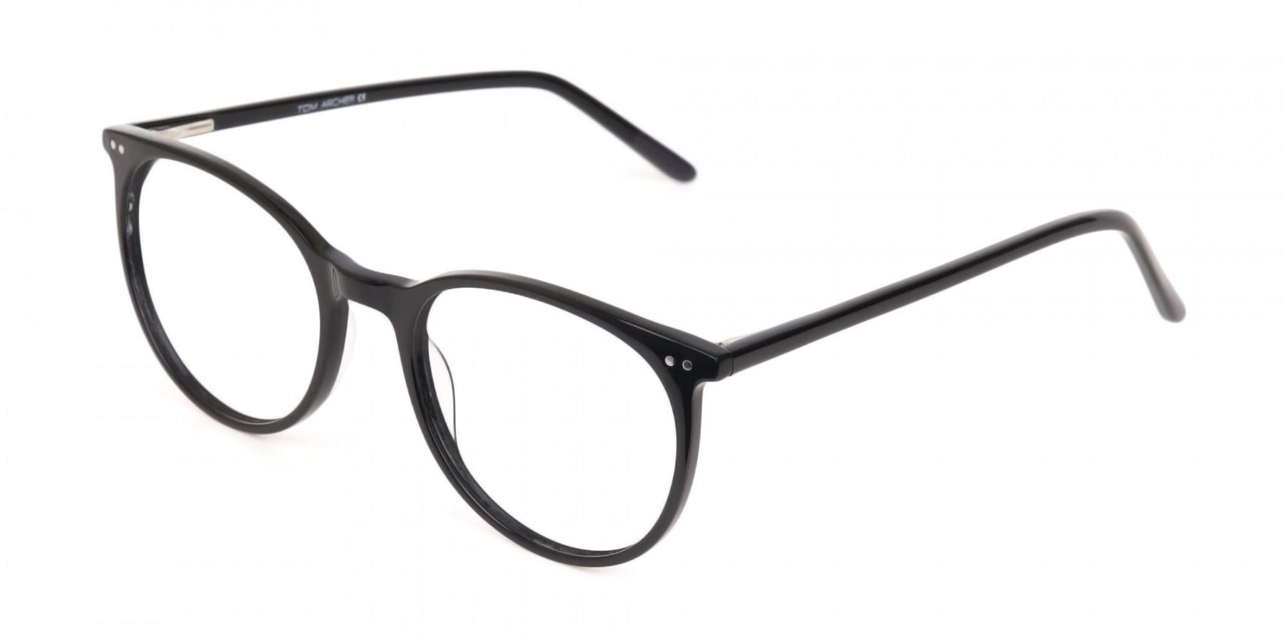 Designer Black Round Acetate Frame For Unisex-1