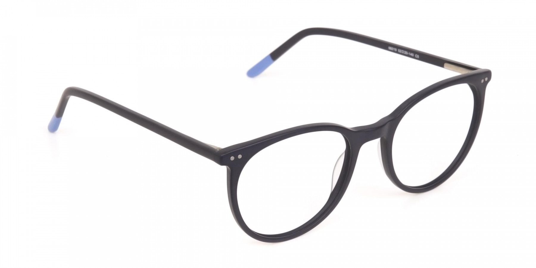 Matte Black Designer Round Eyeglasses Unisex-1