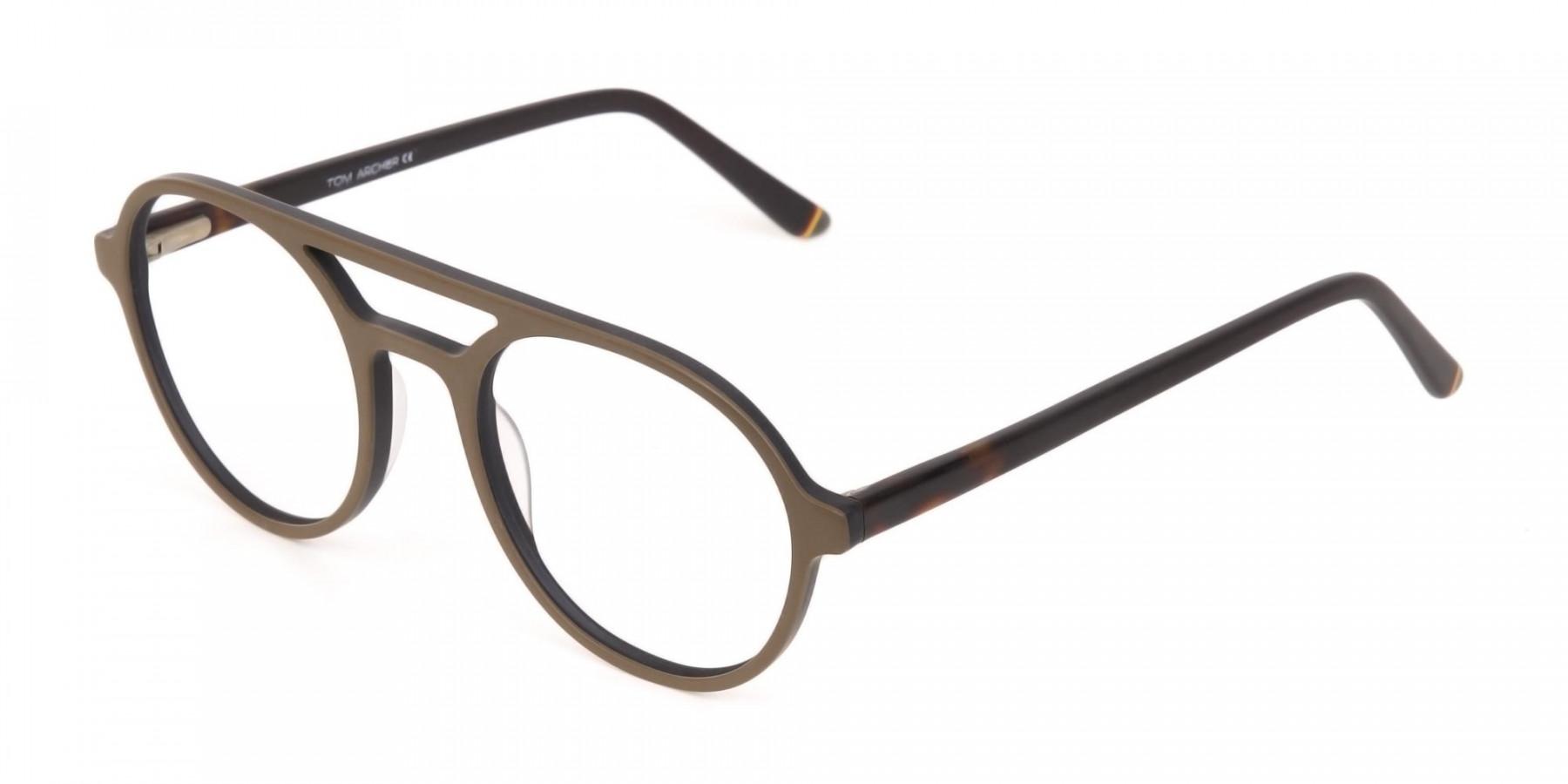 Oak Brown and Tortoise Designer Round Eyeglasses-1