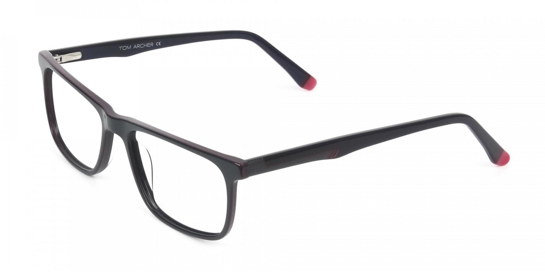 Dark Blue & Burgundy Temple Tips Glasses in Rectangular - 1