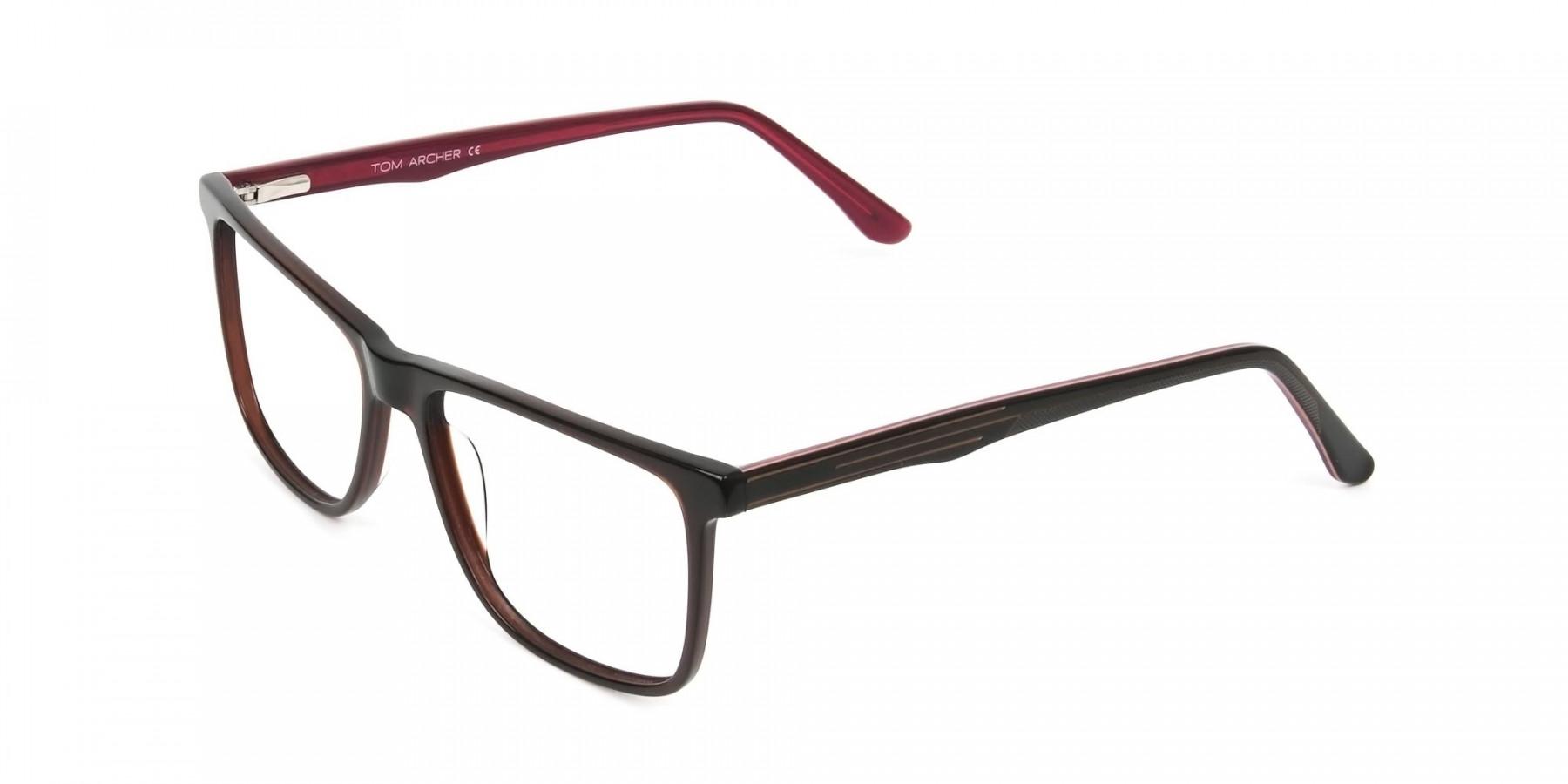 Designer Dark Brown & Red Frame Glasses Men Women - 1