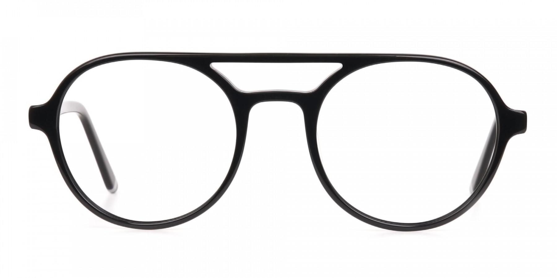 Black Double Bridge Designer Glasses Frame Unisex-1