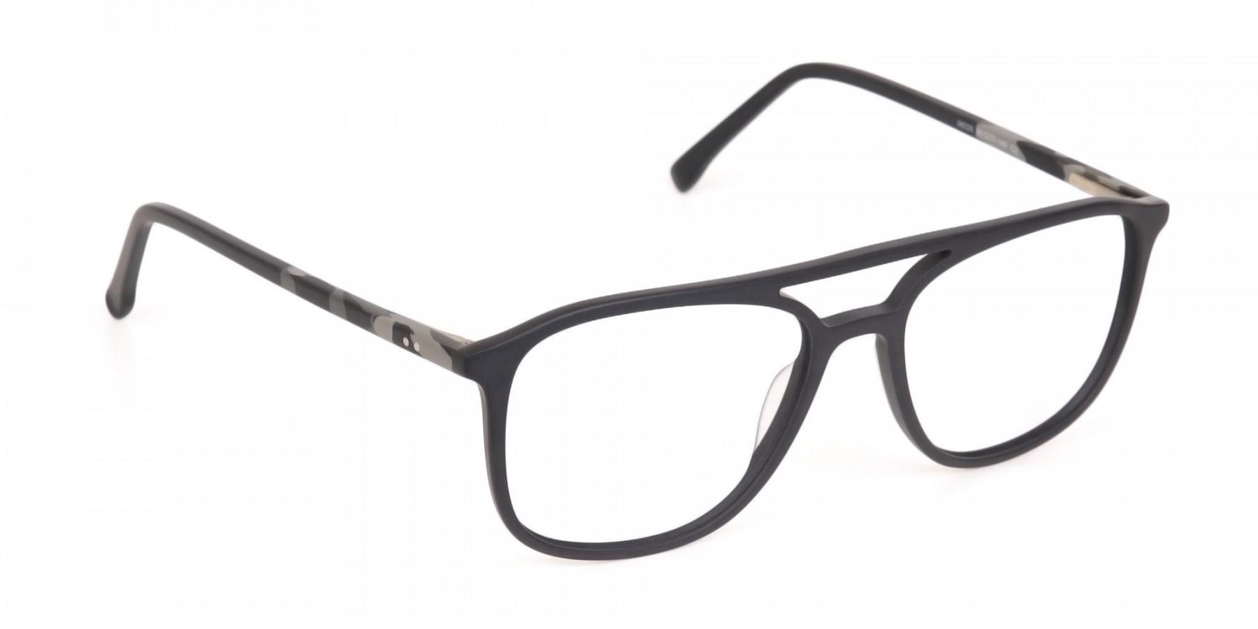 Rectangular Matte Black Double Bridge Glasses-1
