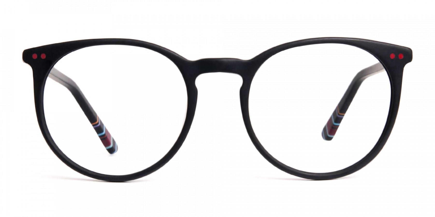 Matte-Black-Designer-Round-Glasses-frames-1