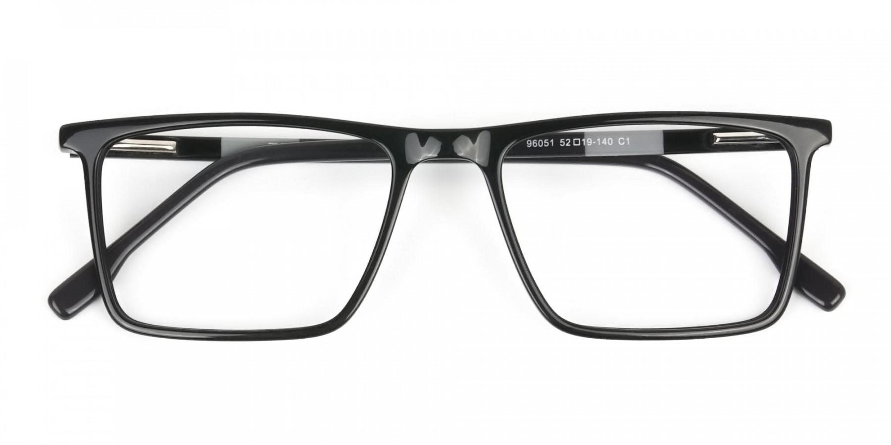 Unisex Black Rectangular Glasses - 1