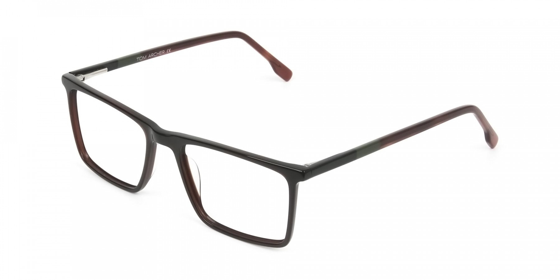 Dark Brown Rectangular Glasses - 1