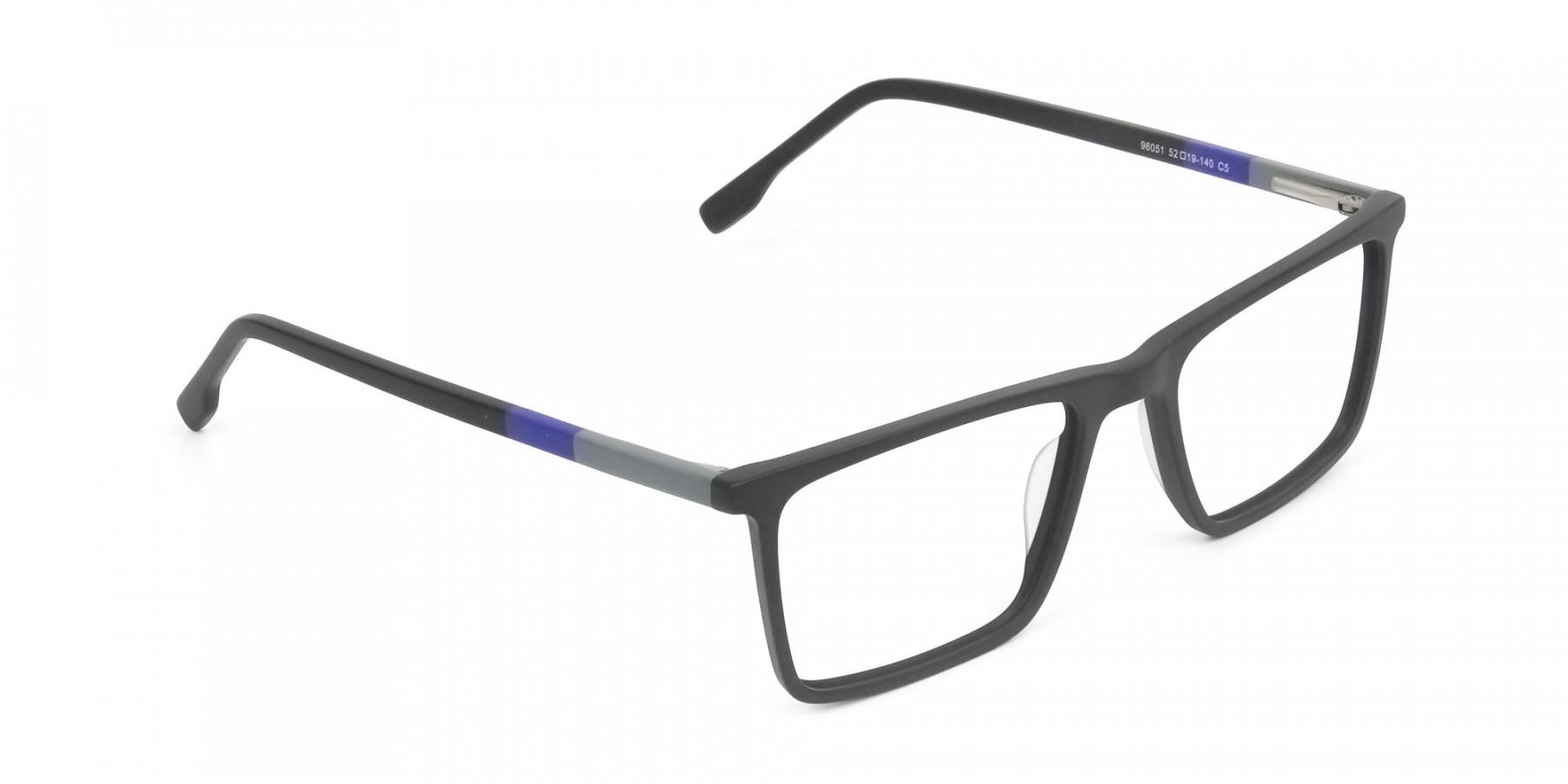 Black & Blue Rectangular Glasses - 1