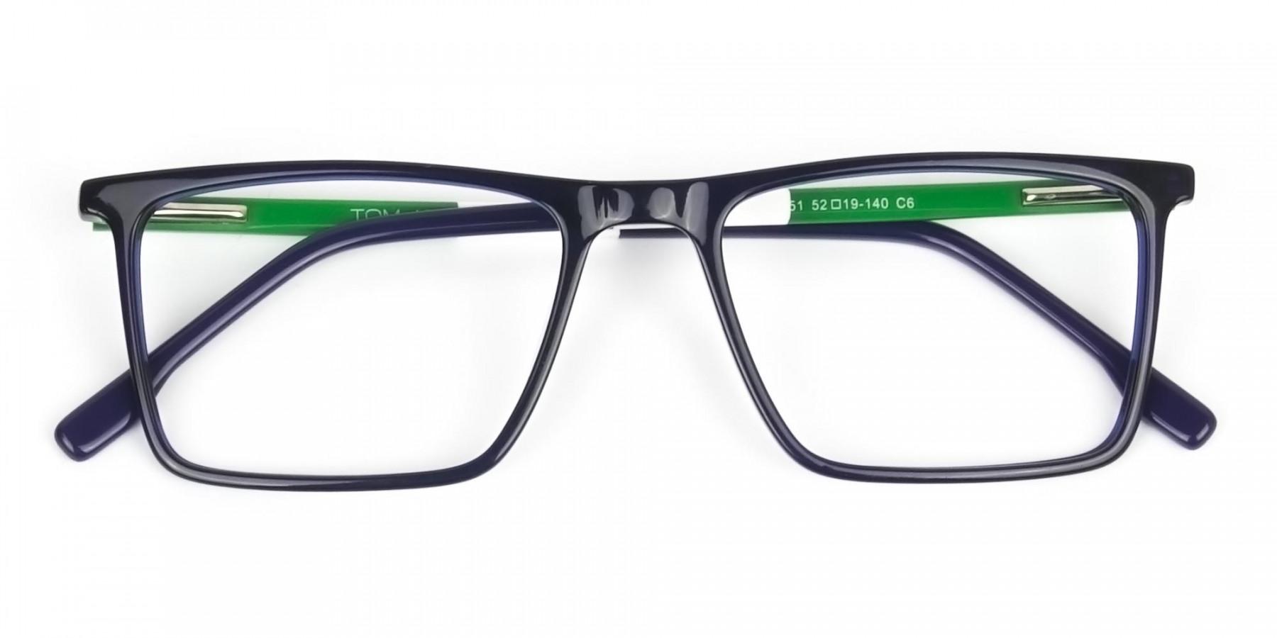 Blue & Green Rectangular Glasses - 1