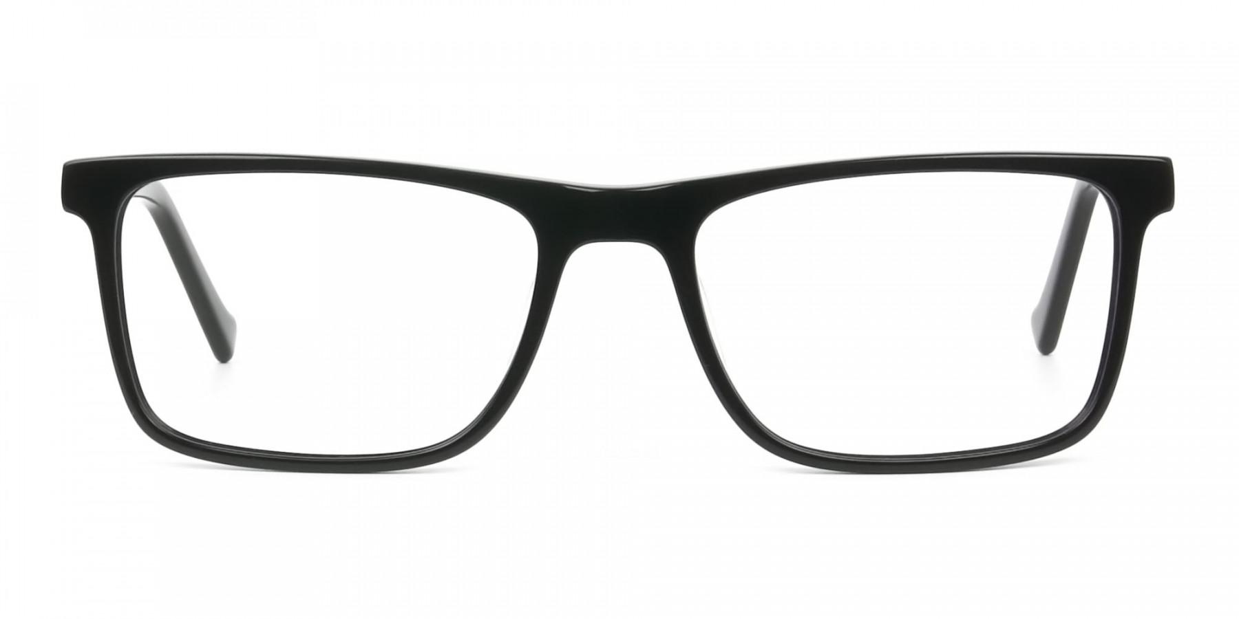 Round Temple Tip Glossy Black Eyeglasses Rectangular - 1