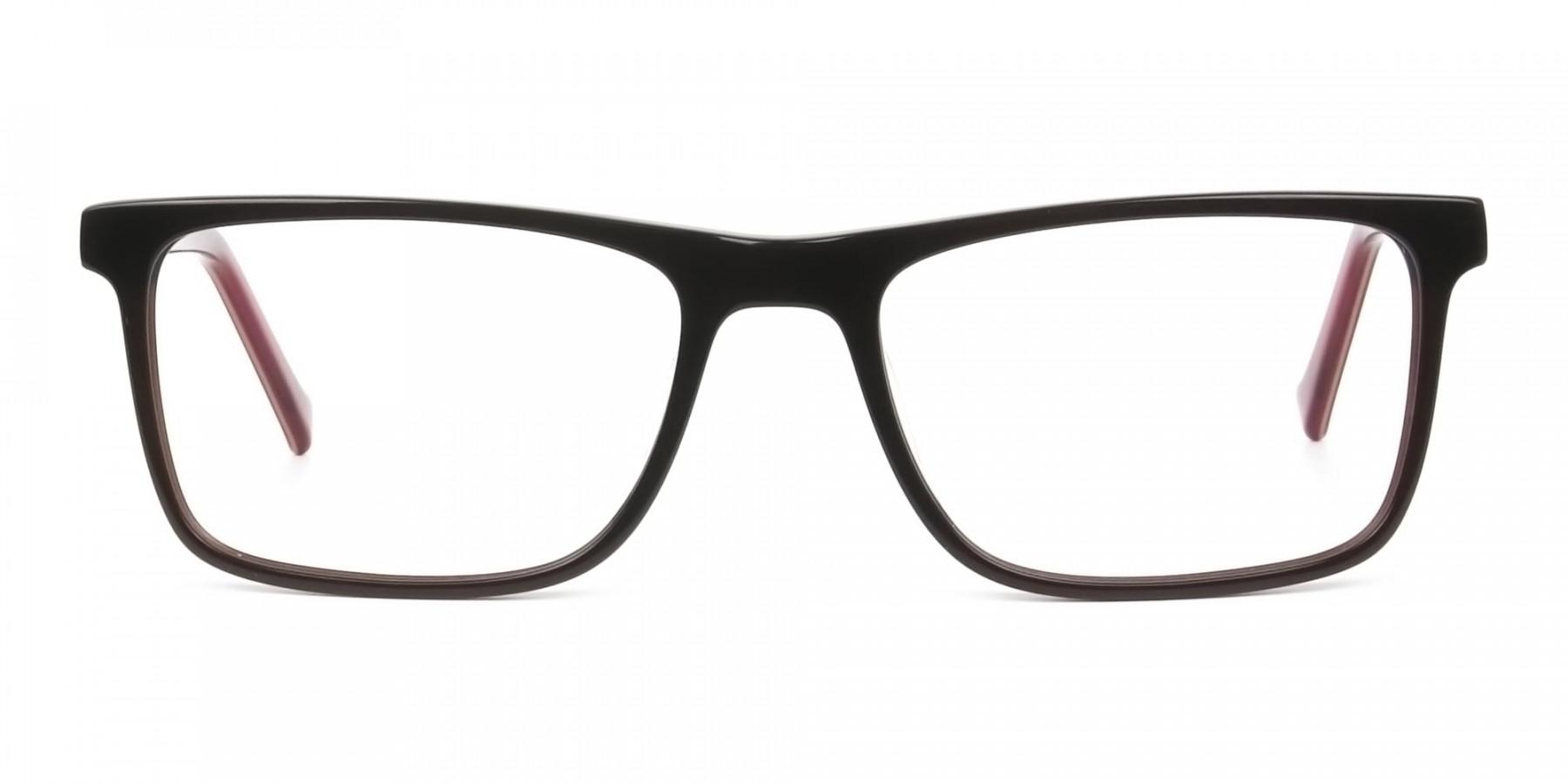 Round Temple Tip Dark Brown & Red Glasses in Rectangular - 1
