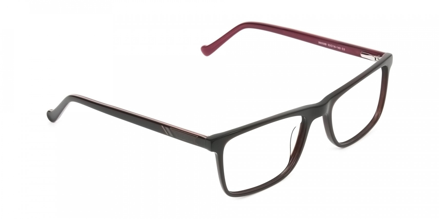 Round Temple Tip Dark Brown & Red Glasses in Rectangular - 1