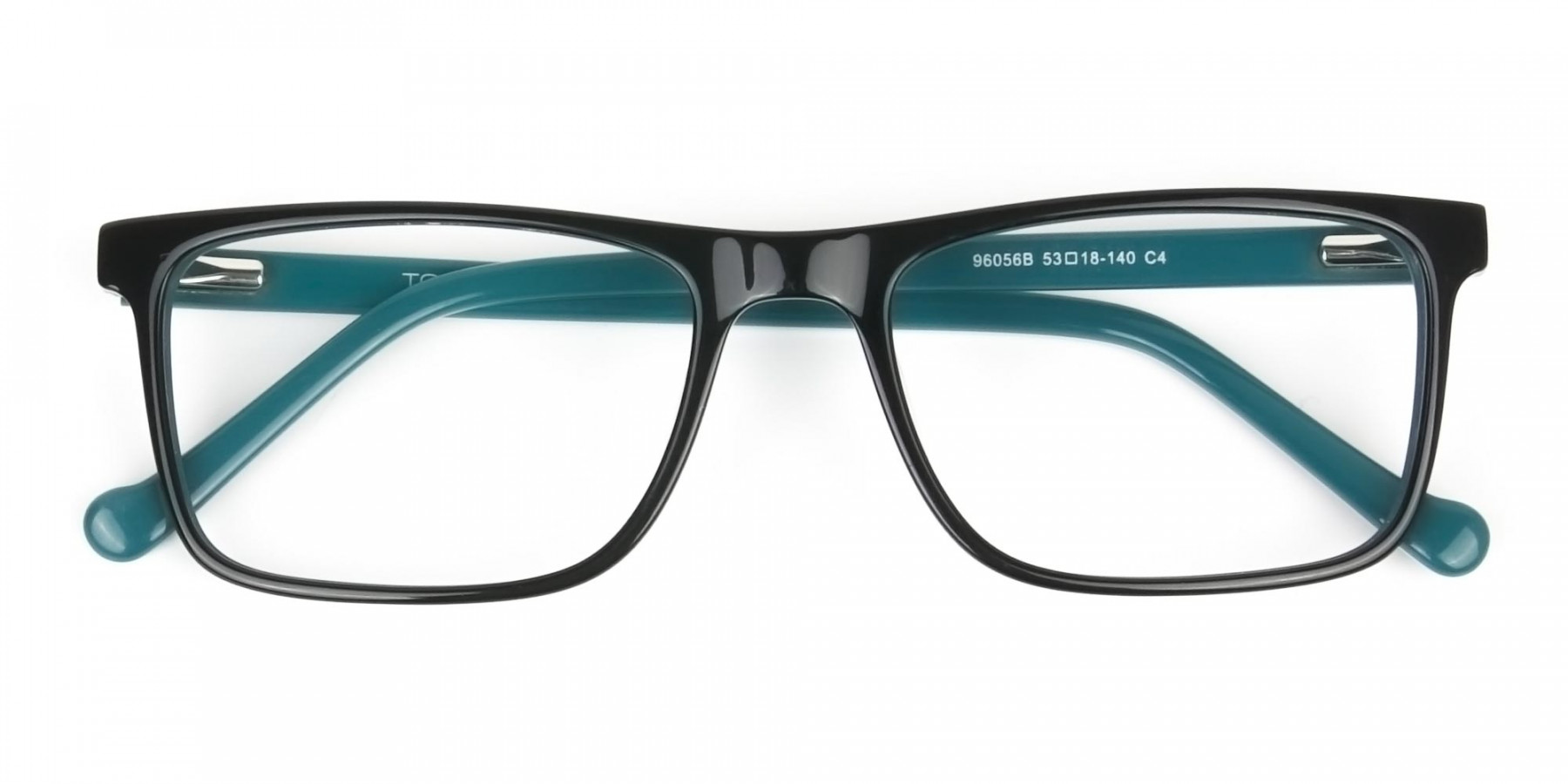 Round Temple Tip Black & Teal Glasses in Rectangular - 1
