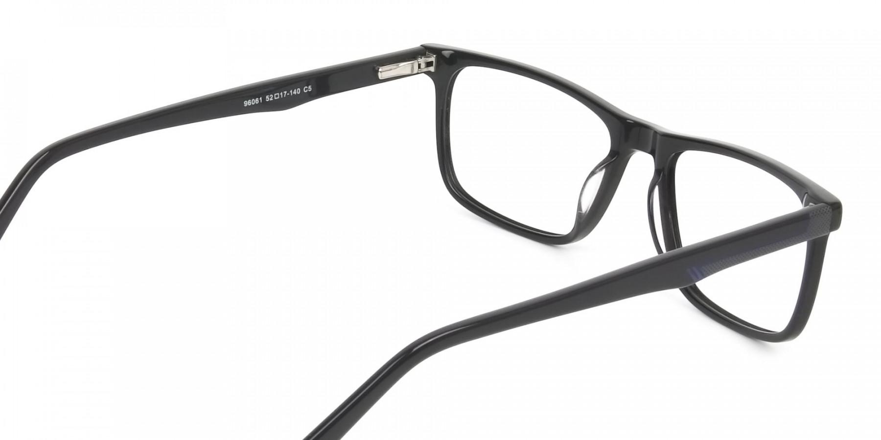 Black & Blue Temple Tips Glasses in Rectangular - 1