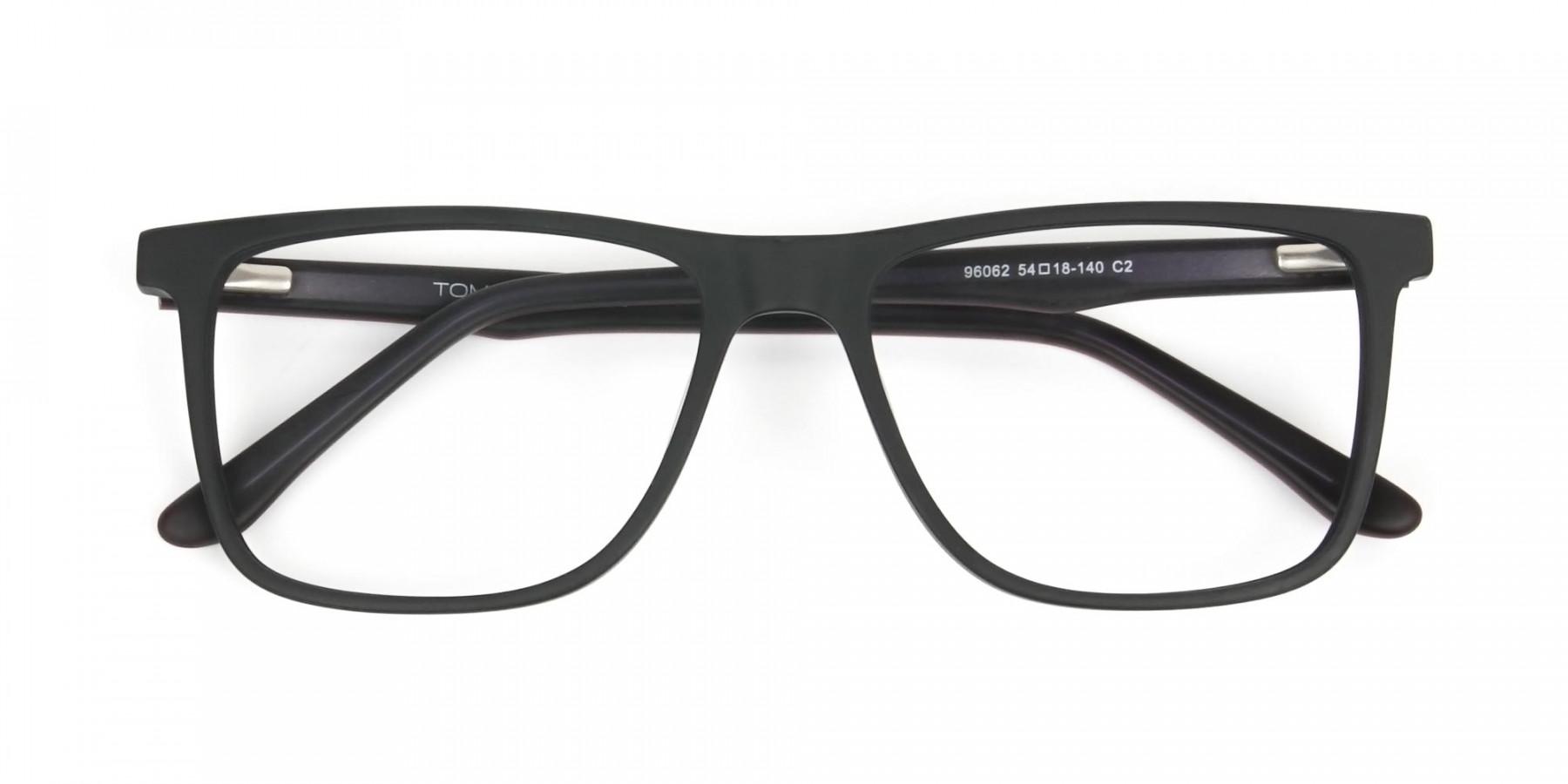 Designer Matte Black Spectacles Rectangular Men Women - 1