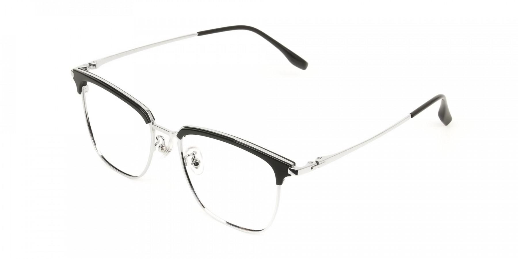 Wayfarer Black & Silver Browline Glasses - 1