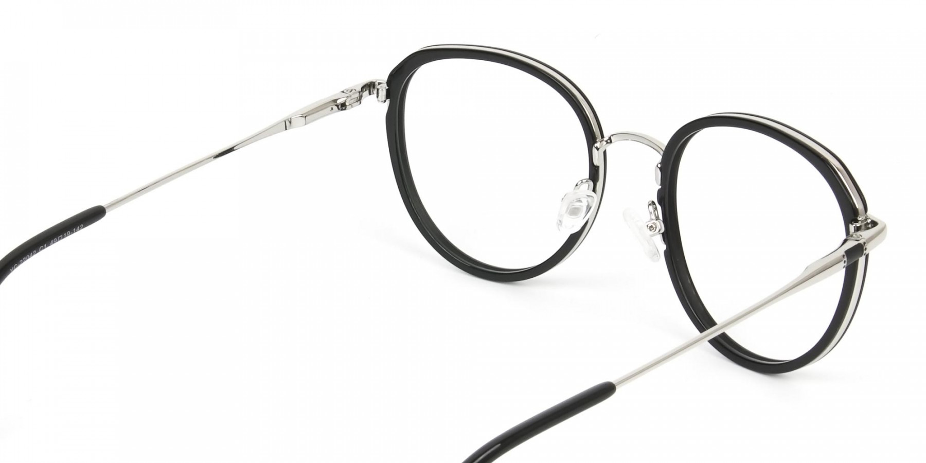 Metal Silver and Black Thick Round Frame Glasses - 1