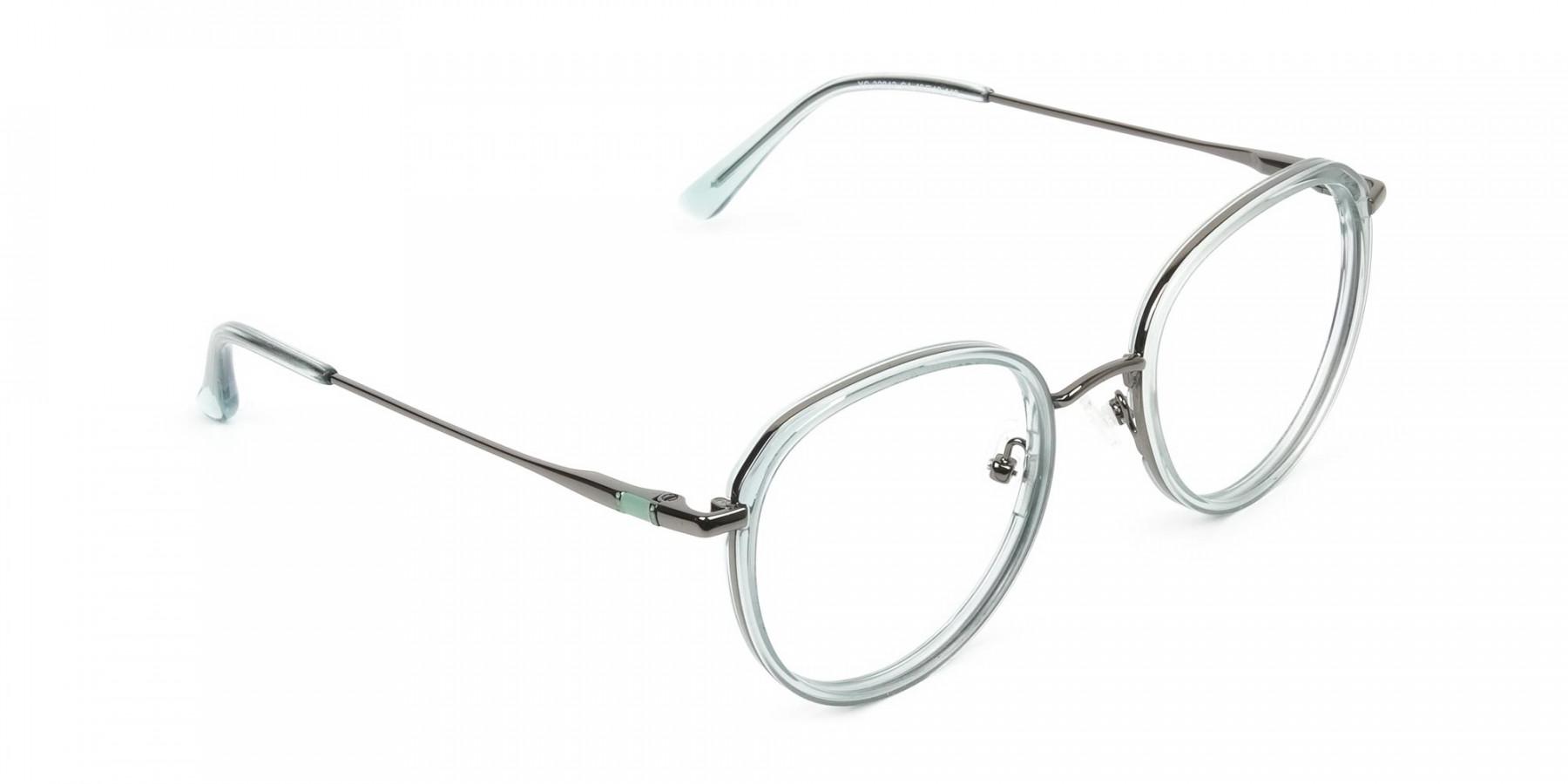 Gunmetal and Translucent Powder Blue Thick round Frame glasses - 1
