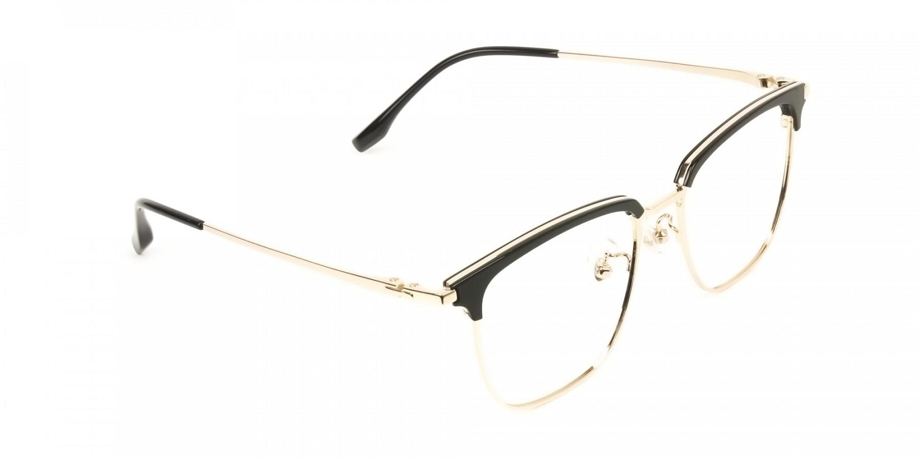 Wayfarer Black & Gold Browline Glasses  - 1
