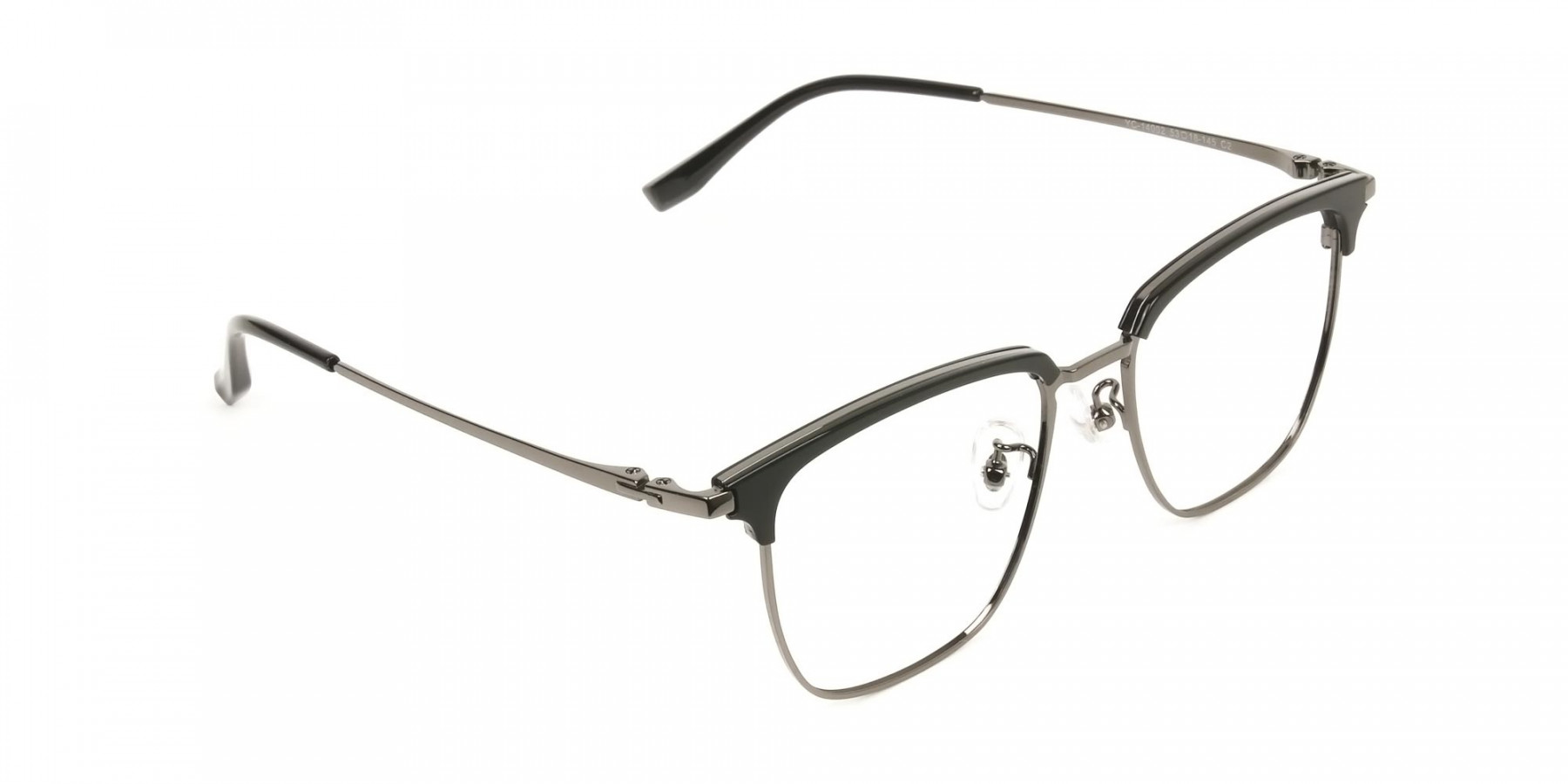 Wayfarer Black & Gunmetal Browline Glasses - 1