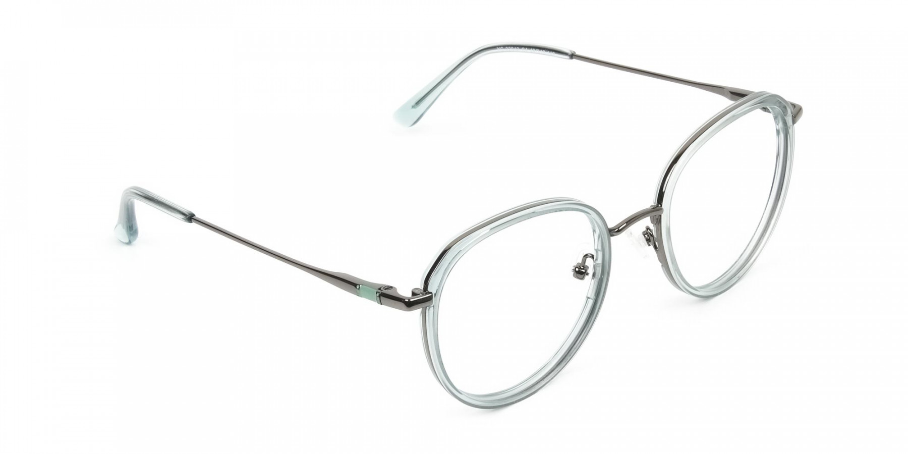 Gunmetal and Translucent Powder Blue Thick round Frame glasses - 1