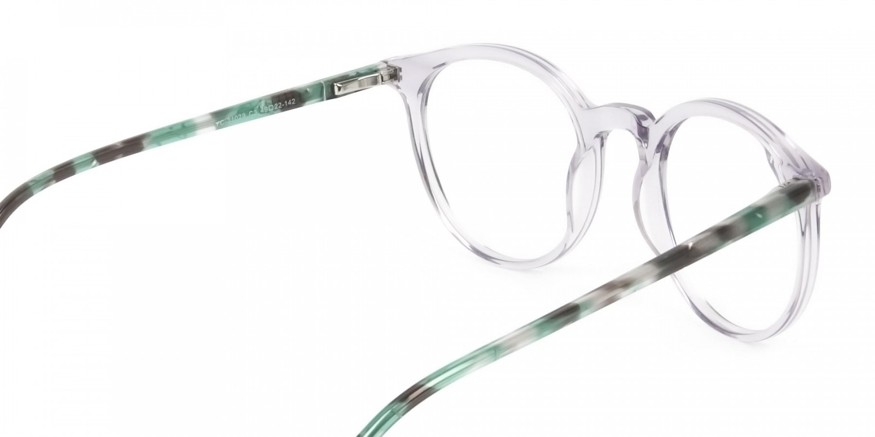 Crystal Grey and Teal Tortoise Glasses in Round - 1