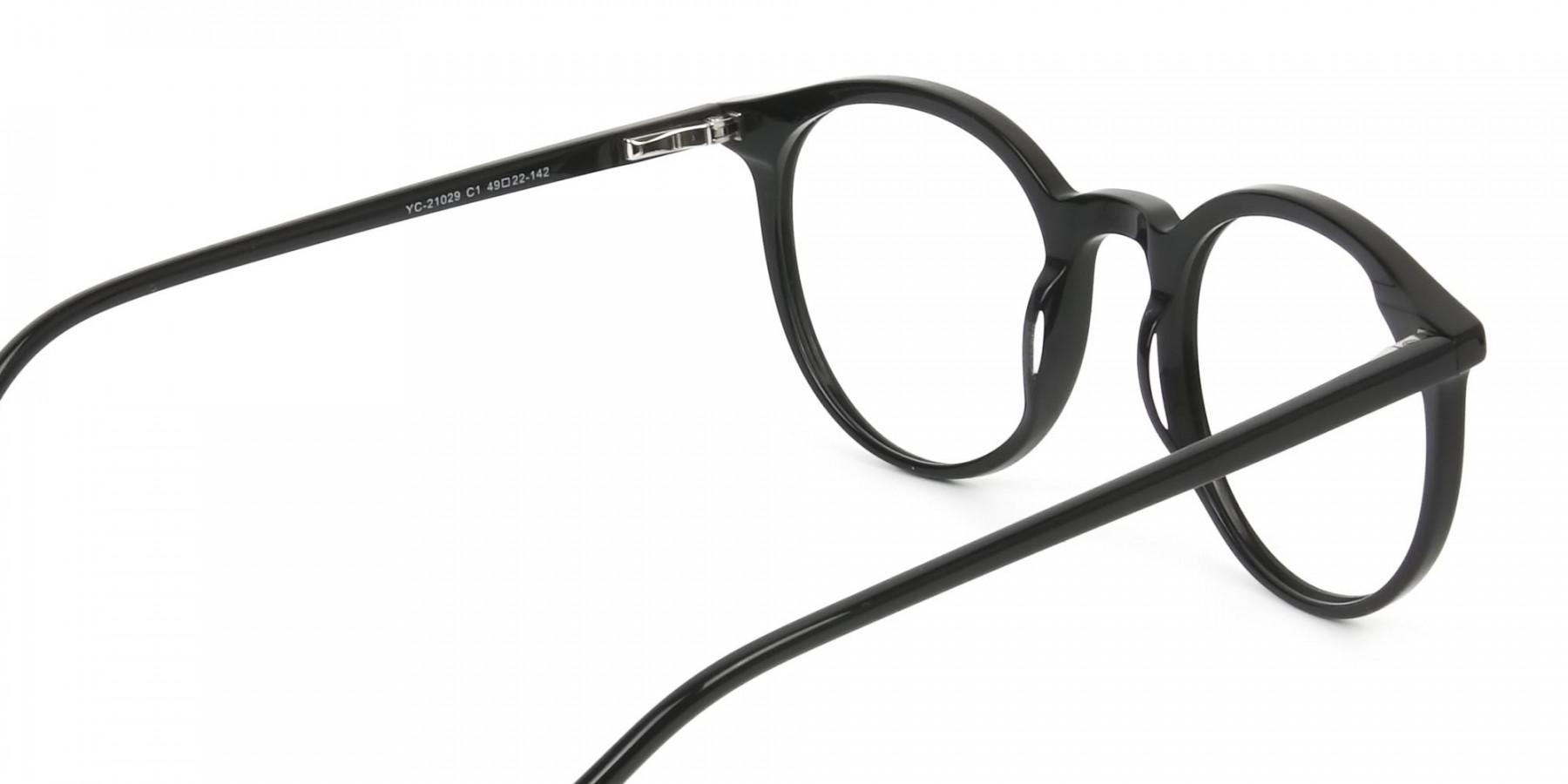 Black Thin frame glasses in Round - 1