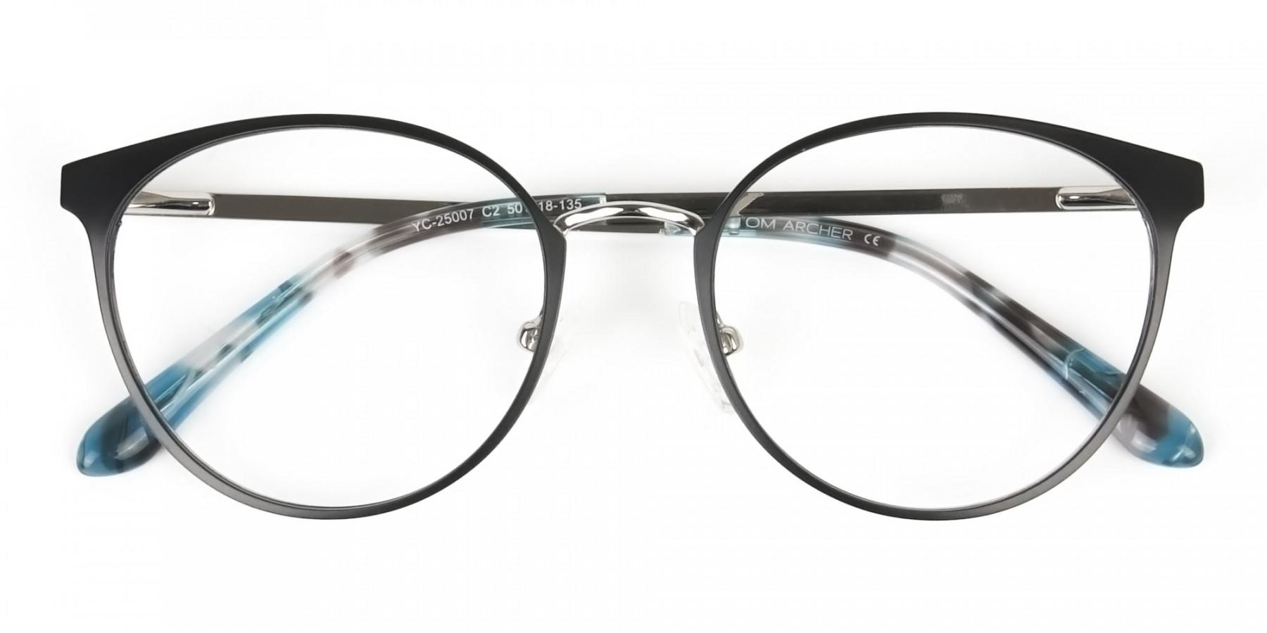 Silver Black Metal Glasses in Round Men Women - 1