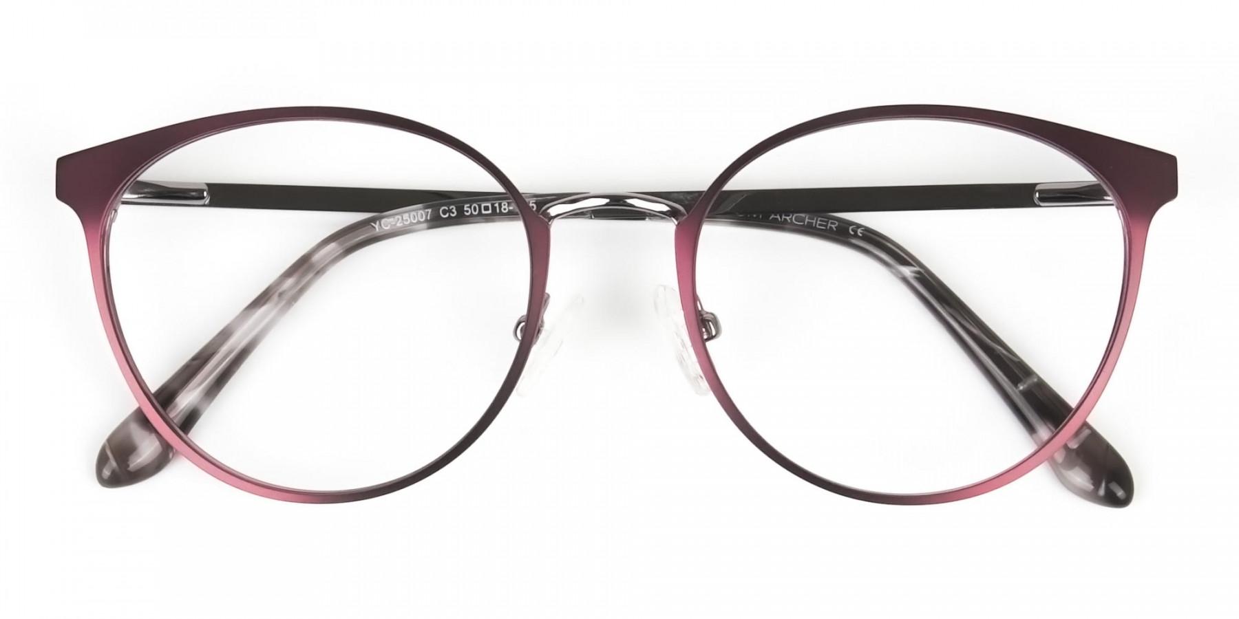 Purple Burgundy Red Gunmetal Round Glasses Men Women - 1