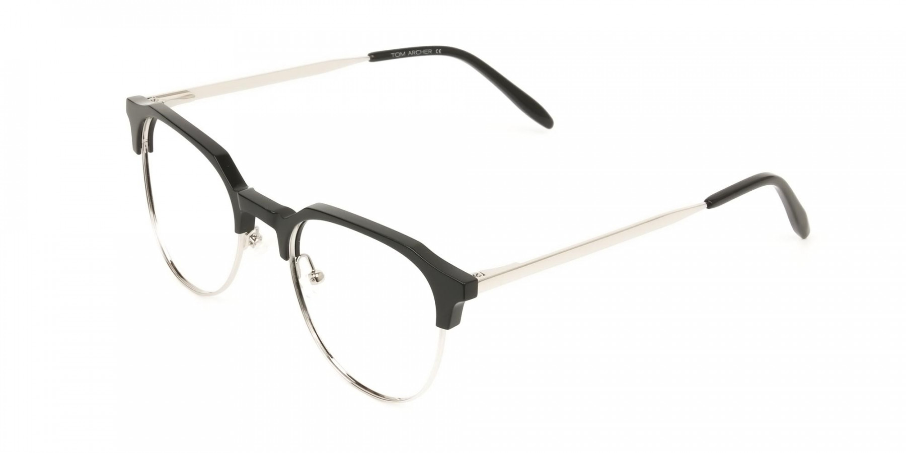 Clubmaster Eyeglasses in Black and Silver Round Frame - 1