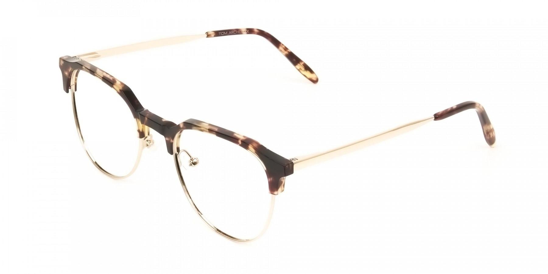 Clubmaster Glasses Tortoise & Gold  - 1