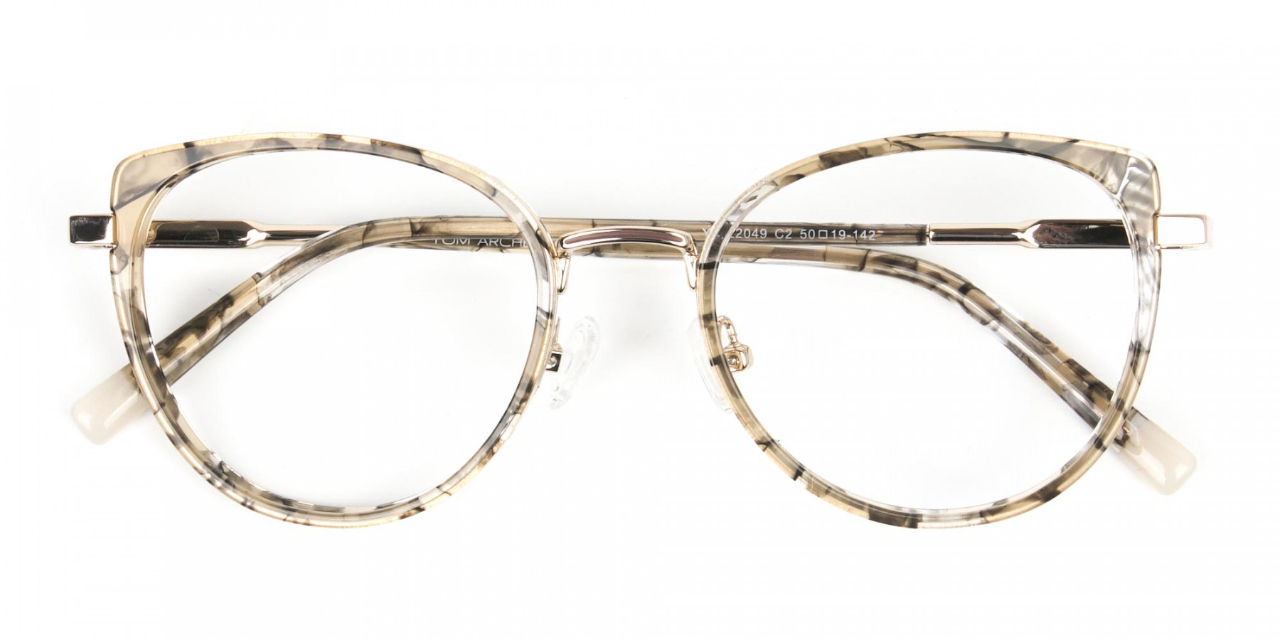 Amber Tortoise Cat-Eye Glasses in Round  - 1