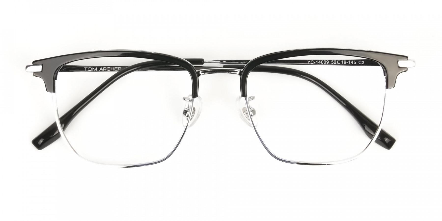 Wayfarer Browline Black & Silver Large Frame Glasses - 1