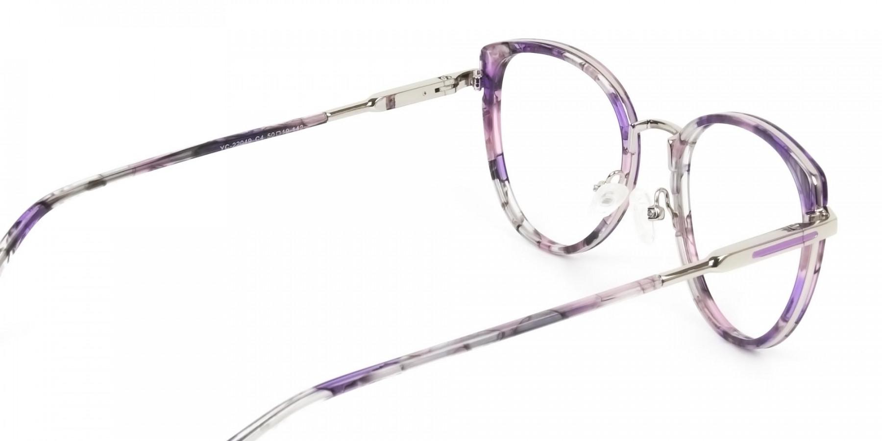 Purple Tortoise Cat-Eye Round Glasses - 1
