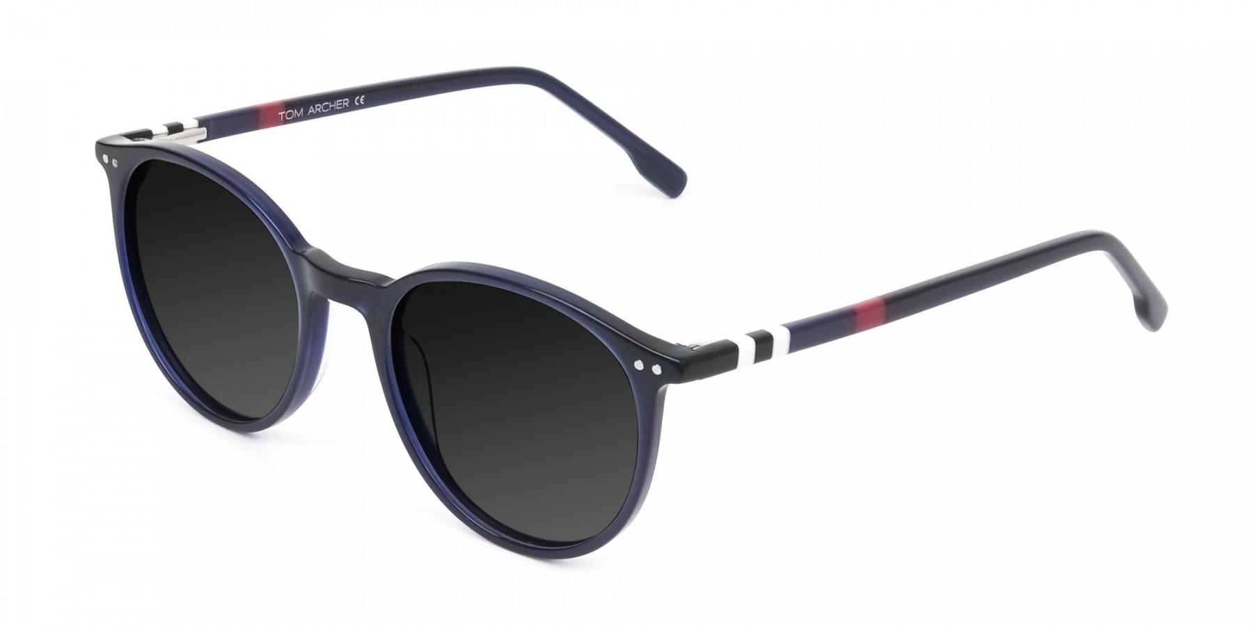 dark-grey-tinted-navy-blue-round-sunglasses - 3