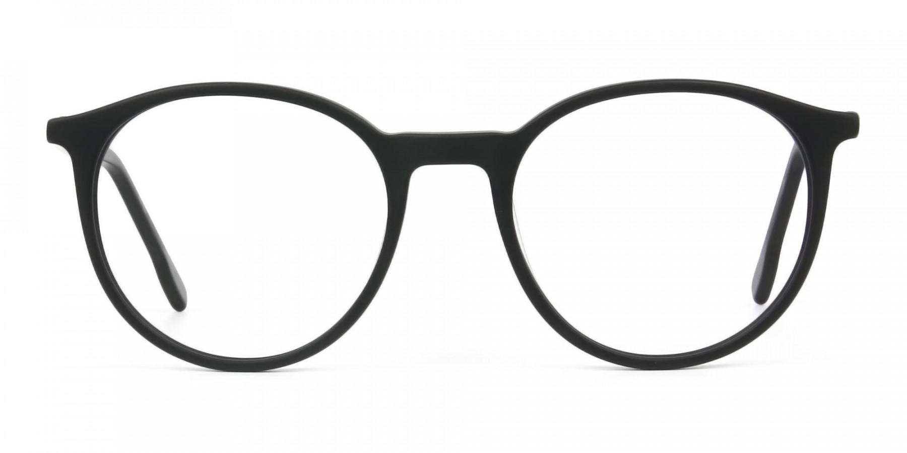 Designer Matte Black Acetate Eyeglasses in Round - 1