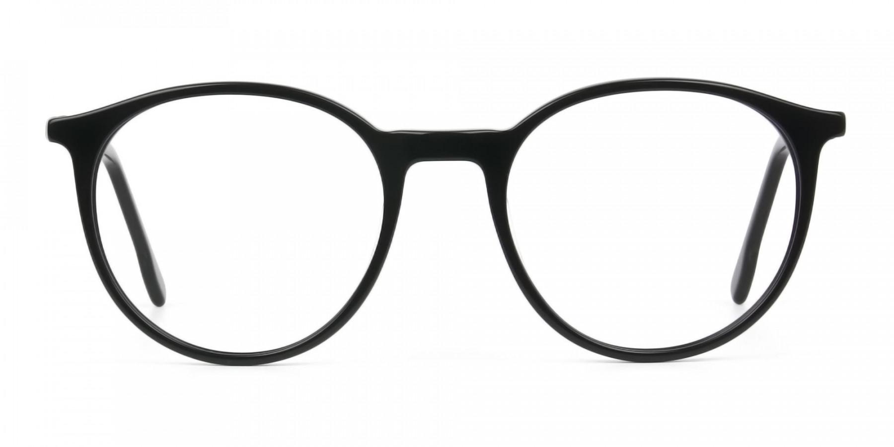 Designer Black Acetate Eyeglasses in Round Men Women - 1