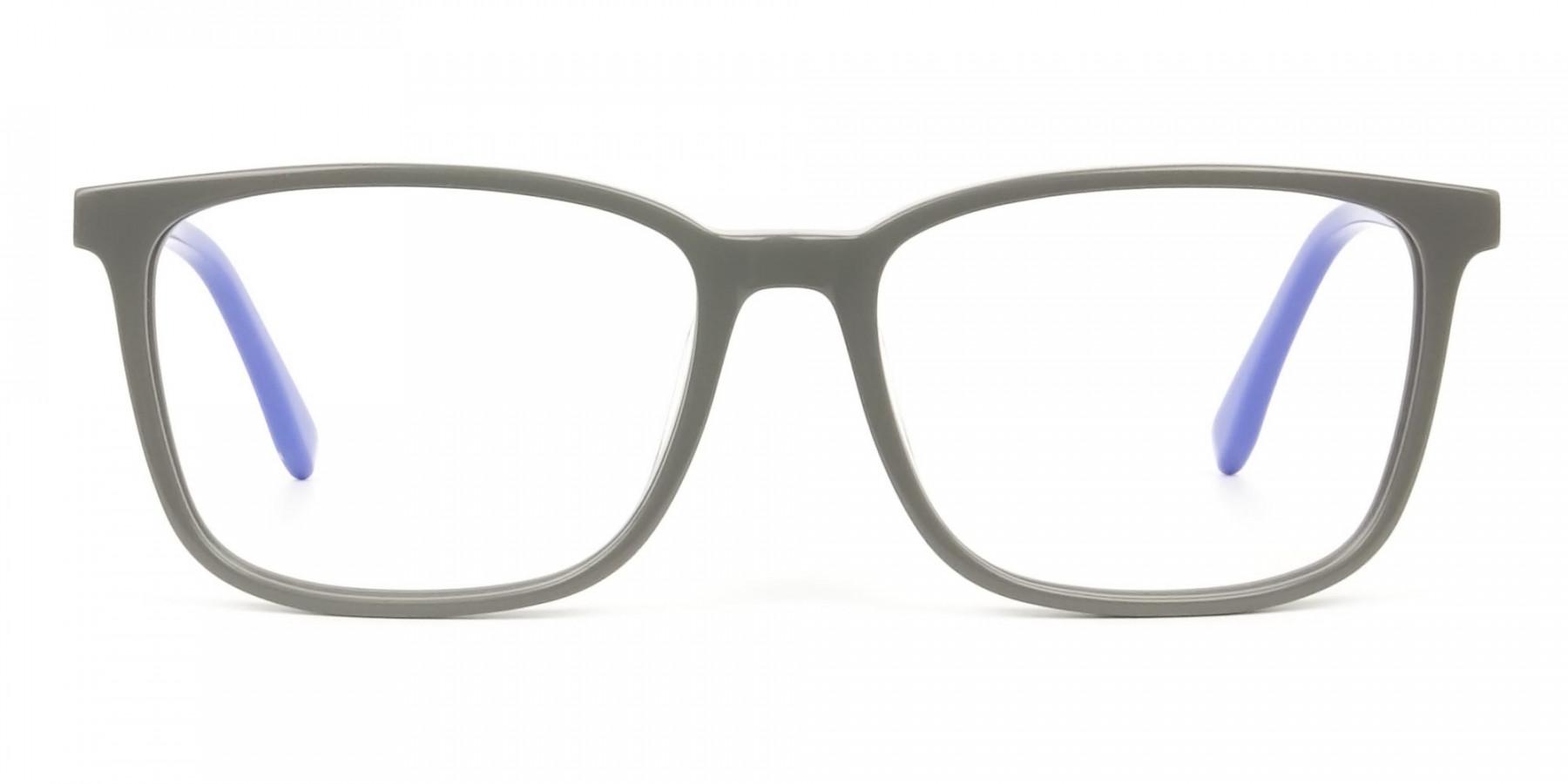 Sporty Casual Rectangular Blue & Grey Frame Glasses - 1