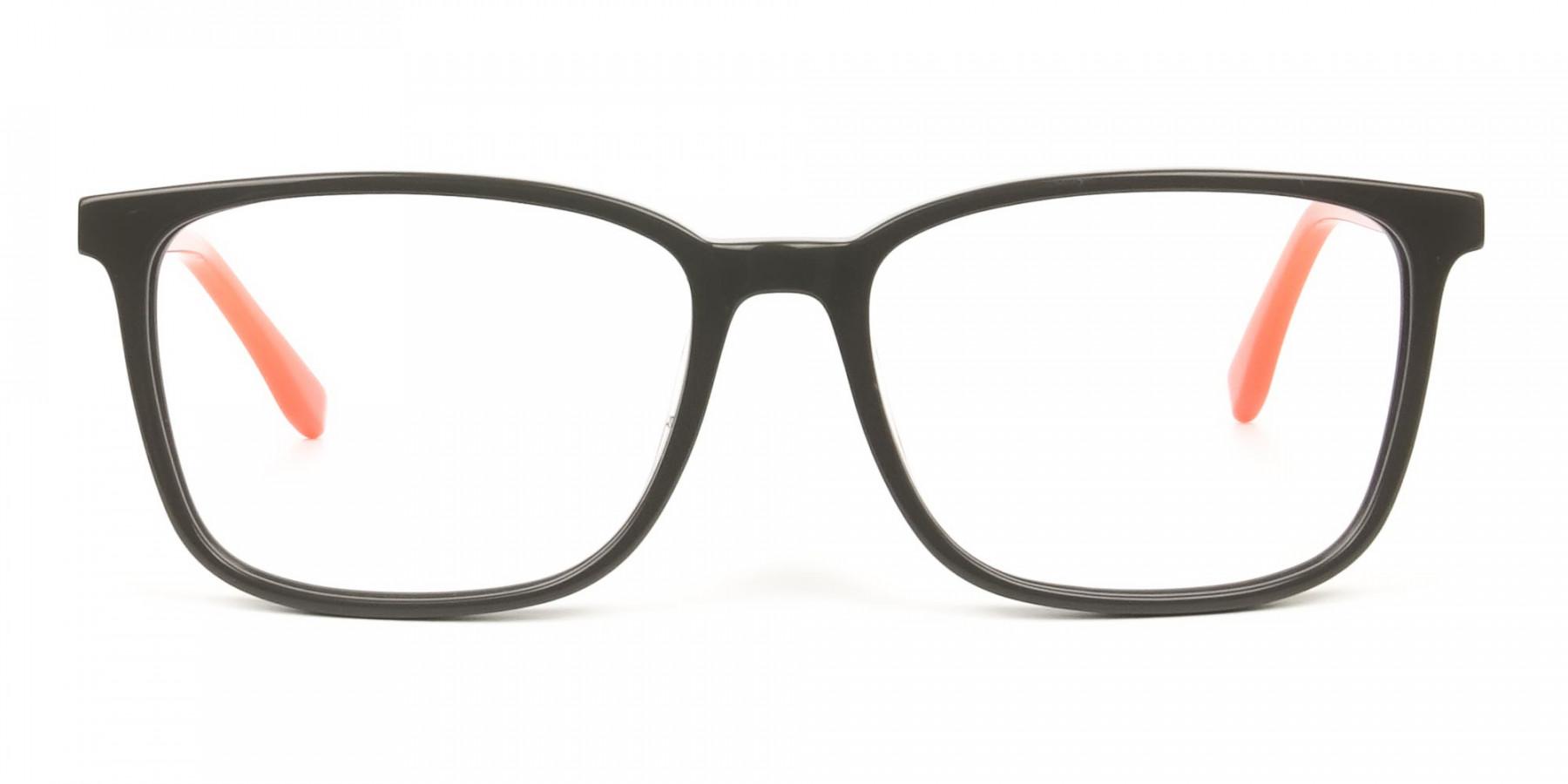 Sporty Nerd Rectangular Grey Orange Frame Glasses - 1