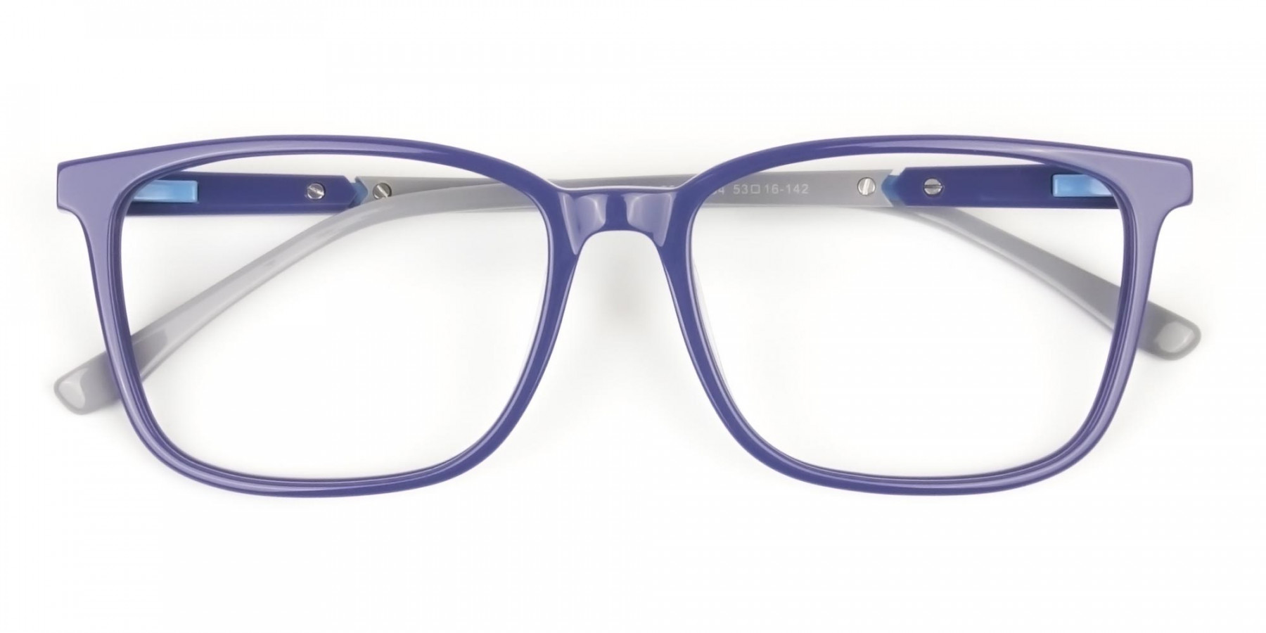 Sporty Casual Rectangular Grey & Royal Blue Spectacle Frames - 1