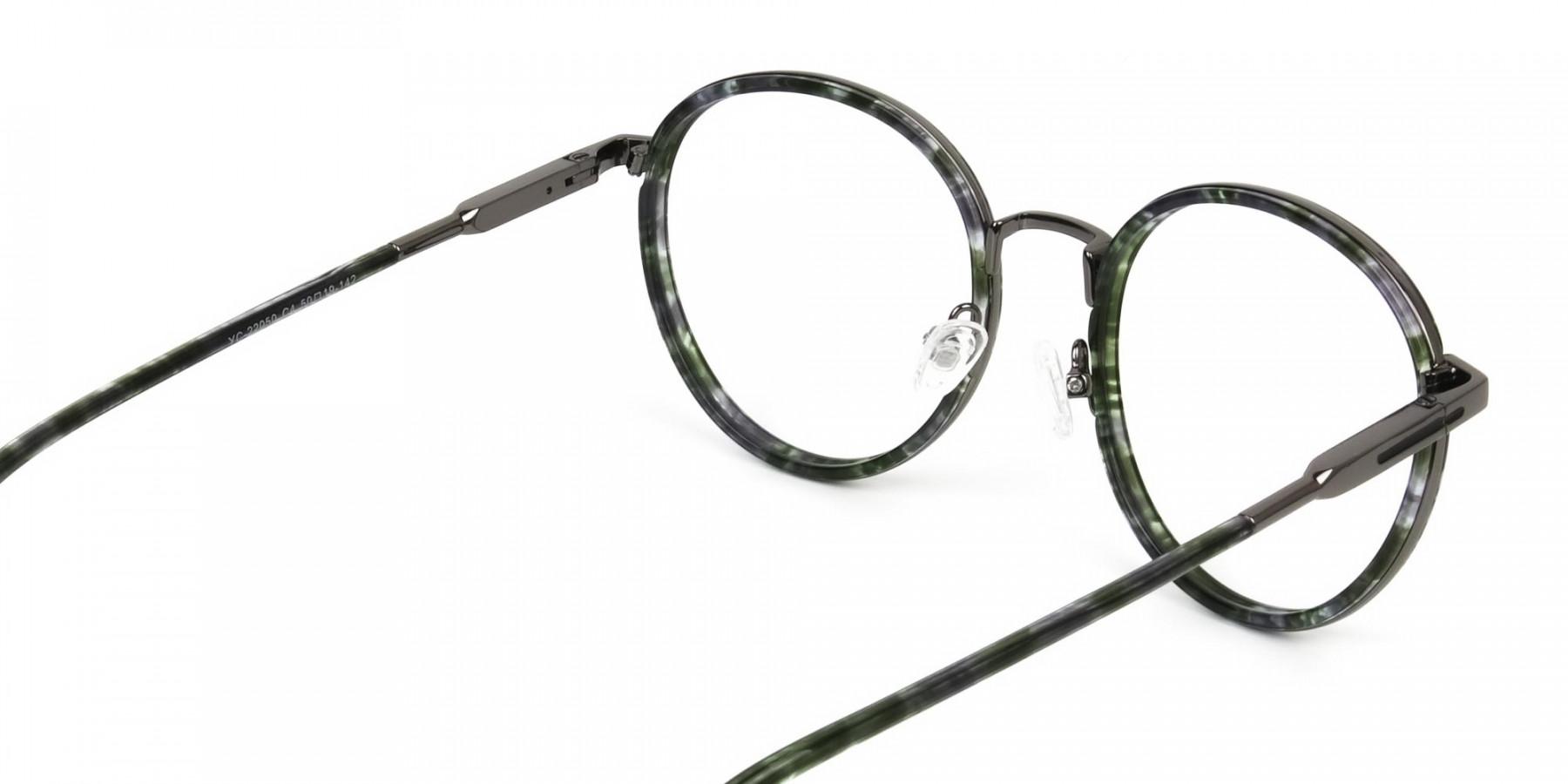Hunter Green Tortoise Gumetal Glasses in Round - 1