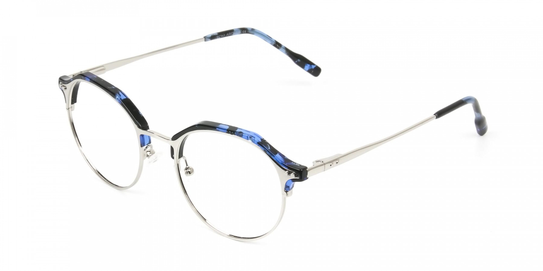 Blue Marble & Silver Weightless Glasses  in Mixed material - 1