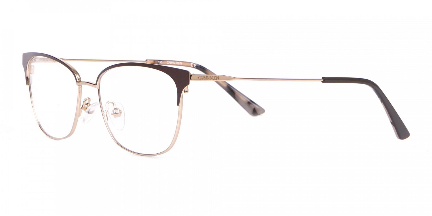 Calvin Klein CK18108 Women Rectangular Metal Glasses Brown-1