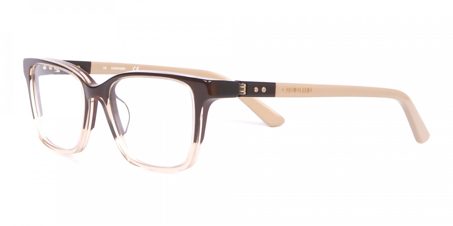 Calvin Klein CK19506 Two-Toned Rectangular Glasses Brown-1