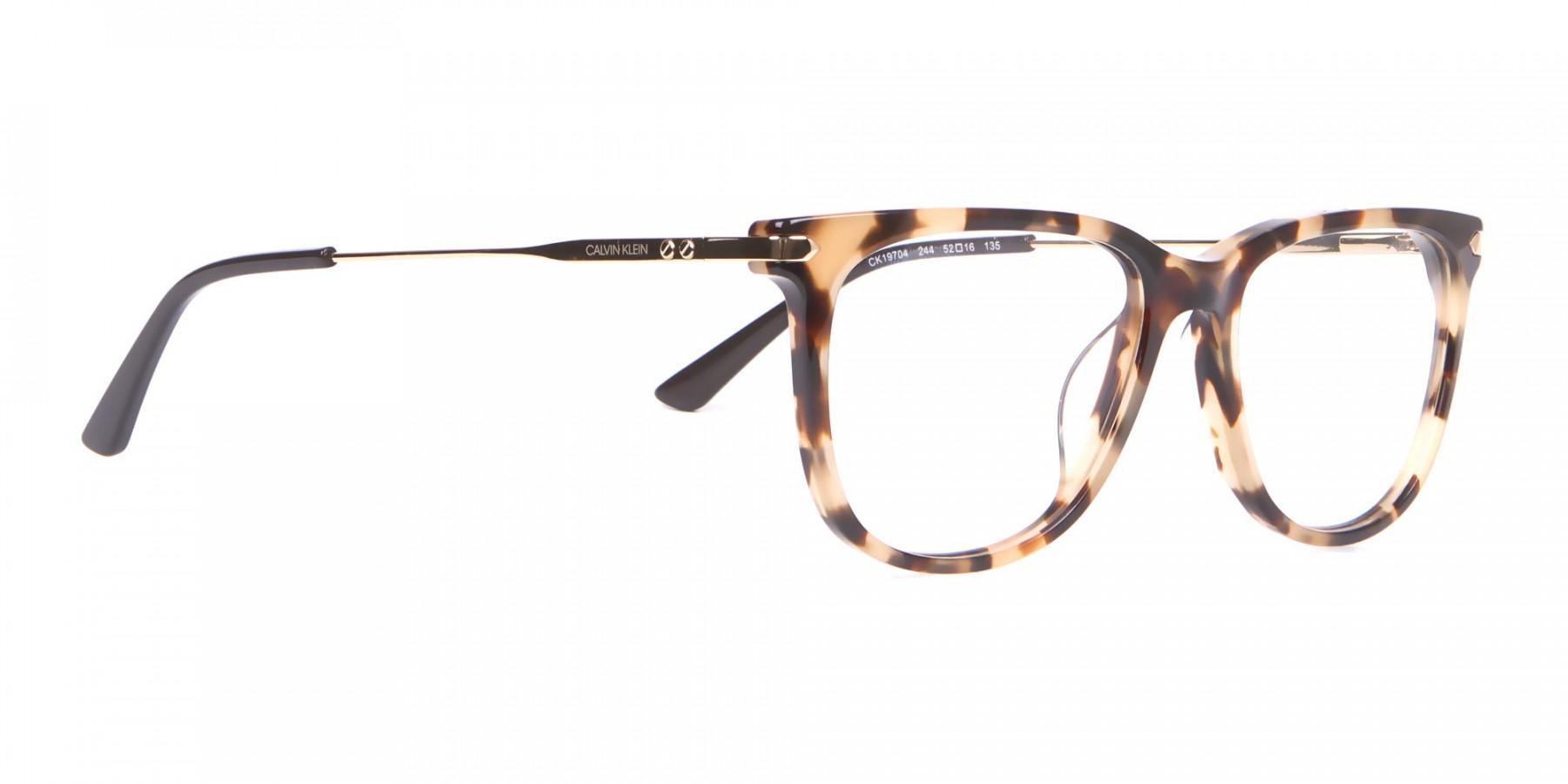 Calvin Klein CK19704 Wayfarer Glasses In Khaki Tortoise-1