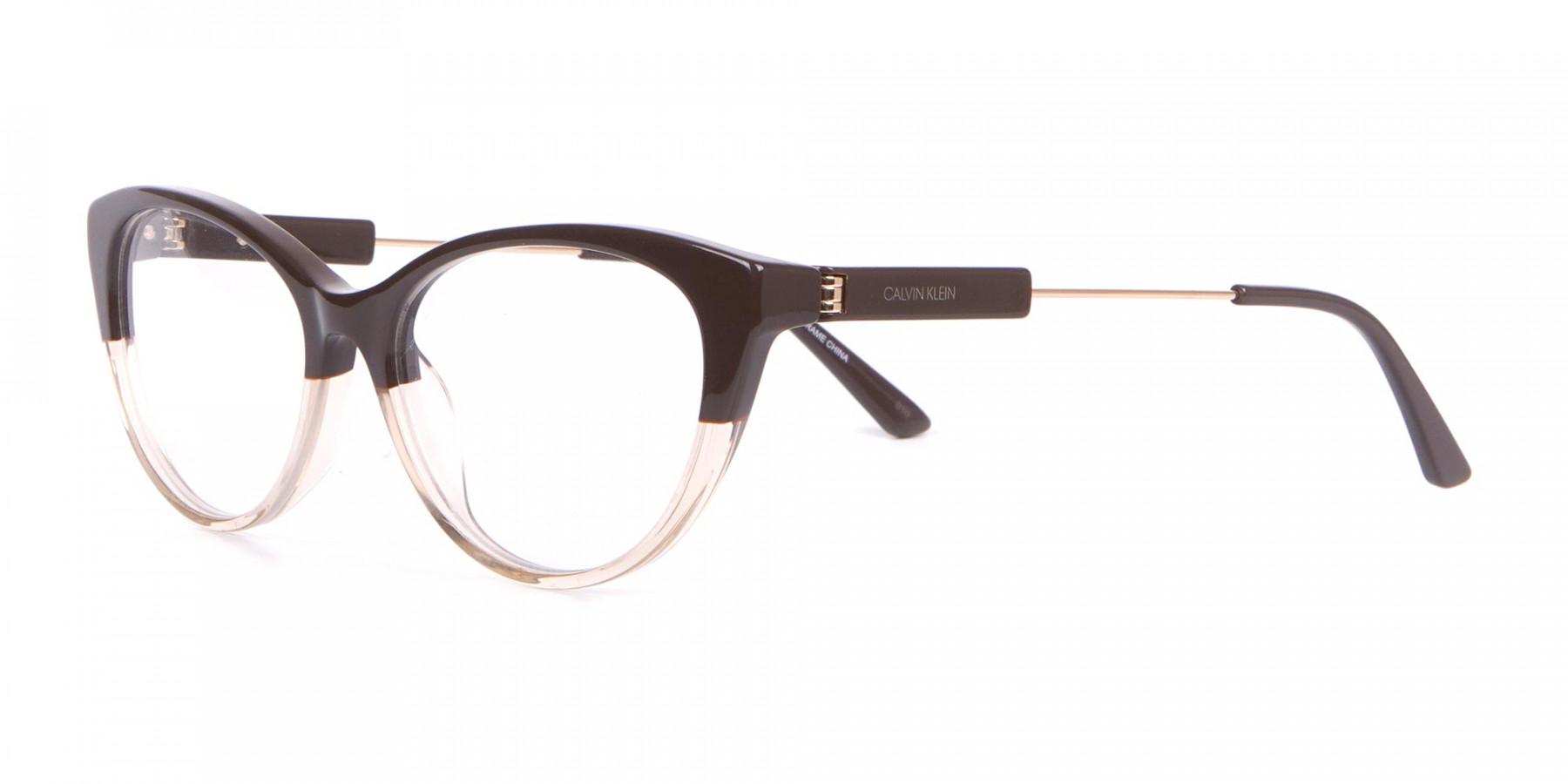Calvin Klein CK19706 Women Two Tone Cat-Eye Glasses Brown-1