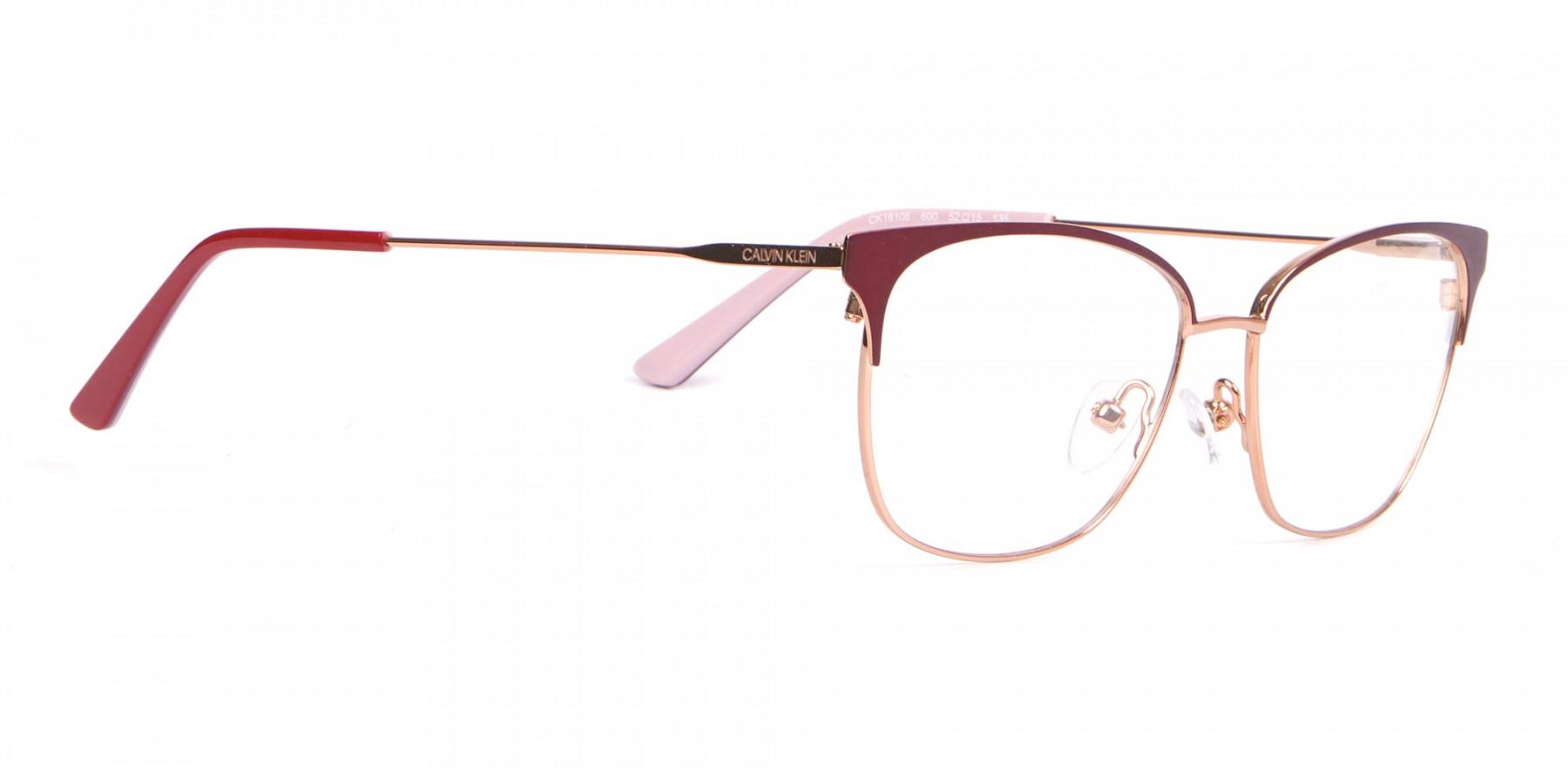 Calvin Klein CK18108 Women Rectangular Metal Glasses Red-1
