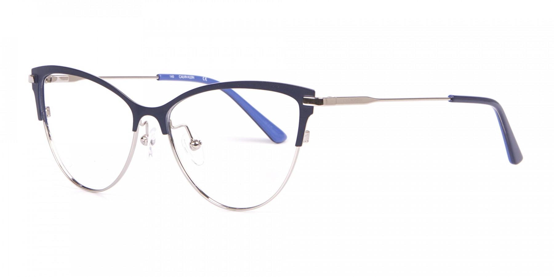 Calvin Klein CK19111 Women Cat-Eye Browline Glasses Navy -1