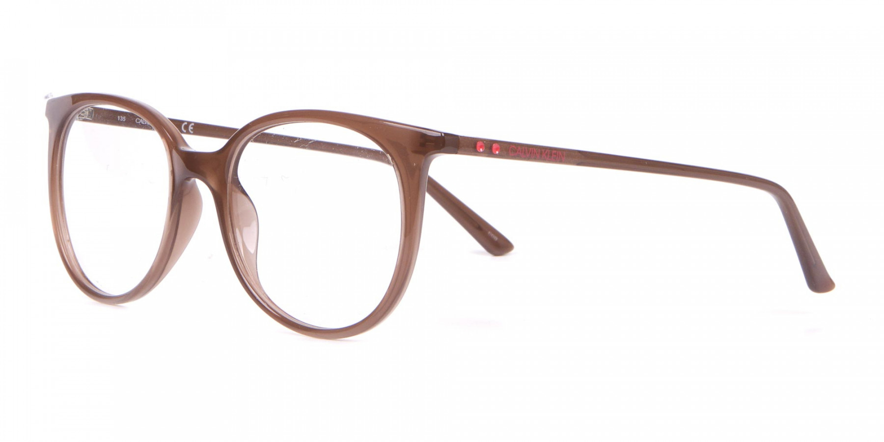 Calvin Klein CK19508 Milky Brown Classic Round Glasses-1