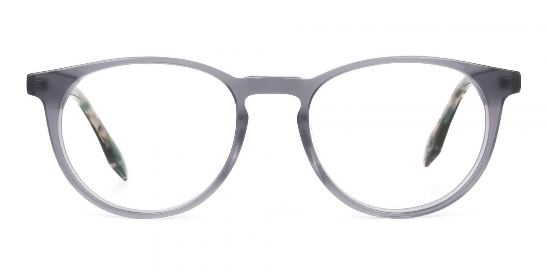Keyhole Grey Frame Eyeglasses with Brown, Blue Tortoise Temple - 1